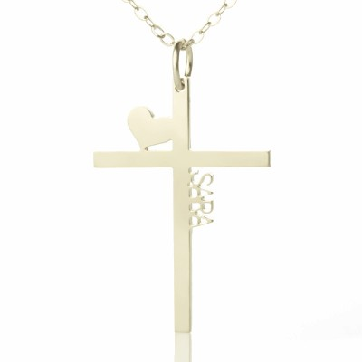 Personalised Silver Cross Name Necklace with Heart - AMAZINGNECKLACE.COM