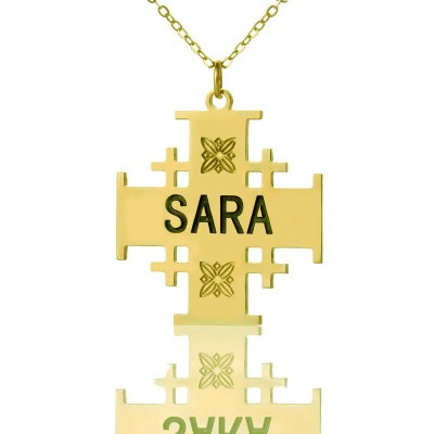 Gold Plated 925 Silver Jerusalem Cross Name Personalised Necklace - AMAZINGNECKLACE.COM