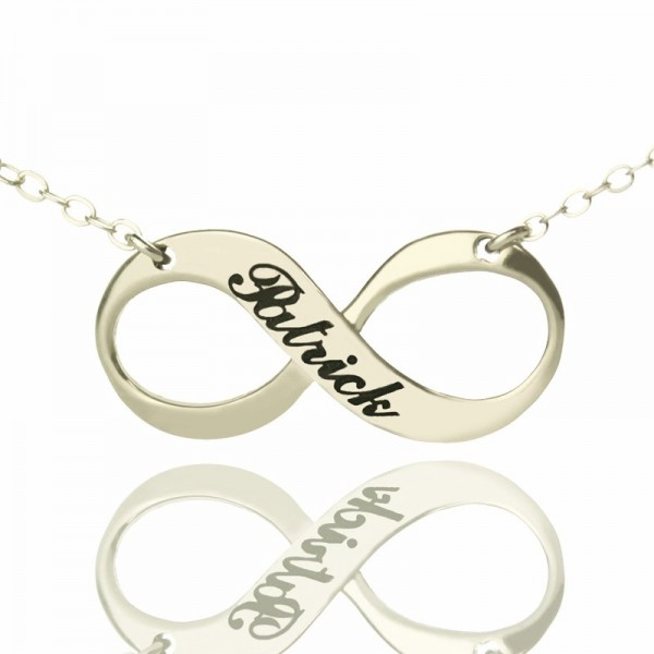 Engraved Name Infinity Personalised Necklace Sterling Silver - AMAZINGNECKLACE.COM