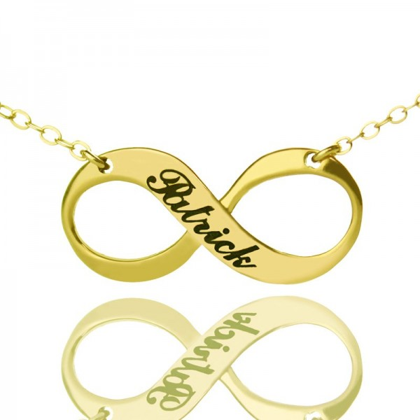 Infinity Symbol Jewellery Personalised Necklace Engraved Name 18ct Gold Plated - AMAZINGNECKLACE.COM