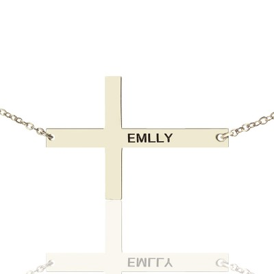 "Engraved Silver Latin Cross Name Personalised Necklace 1.6"" - AMAZINGNECKLACE.COM"