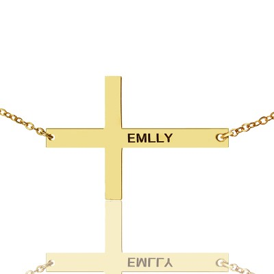 """Gold Plated Silver Latin Cross Personalised Necklace Engraved Name 1.6"""" - AMAZINGNECKLACE.COM"""