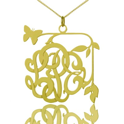 Vines  Butterfly Monogram Initial Personalised Necklace 18ct Gold Plated - AMAZINGNECKLACE.COM