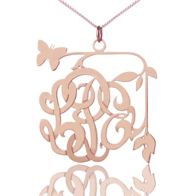 Butterfly and Vines Monogrammed Personalised Necklace 18ct Rose Gold Plated - AMAZINGNECKLACE.COM