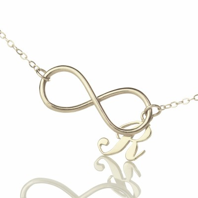 Infinity Personalised Necklaces with Initial Letter Charm Silver - AMAZINGNECKLACE.COM
