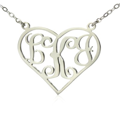 Solid White Gold Initial Monogram Personalised Heart Necklace - AMAZINGNECKLACE.COM