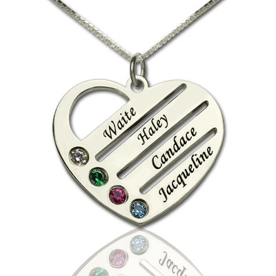 Personalised Mothers Heart Necklace Gift with Birthstone  Name  - AMAZINGNECKLACE.COM