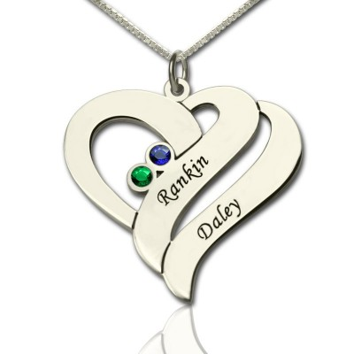 Two Hearts Forever One Personalised Necklace Sterling Silver - AMAZINGNECKLACE.COM