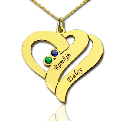 Two Hearts Forever One Love Personalised Necklace 18ct Gold Plated - AMAZINGNECKLACE.COM