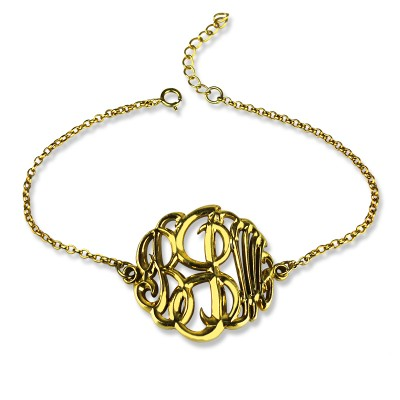 Personalised Monogrammed Bracelet Hand-painted 18ct Gold Plated - AMAZINGNECKLACE.COM