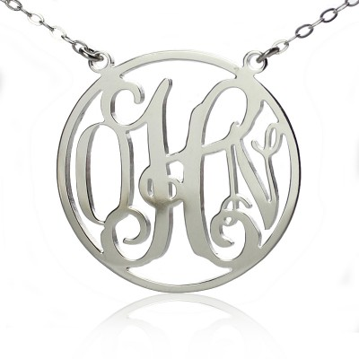 Circle 18ct Solid White Gold Initial Monogram Name Personalised Necklace - AMAZINGNECKLACE.COM