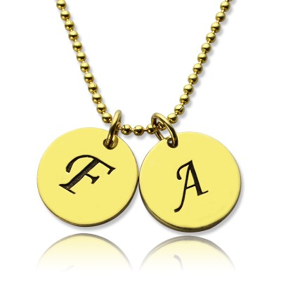 Personalised Initial Charm Discs Necklace 18ct Gold Plated - AMAZINGNECKLACE.COM