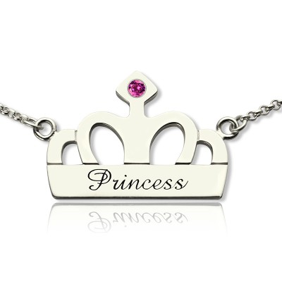 Crown Charm Neckalce with Birthstone  Name Sterling Silver  - AMAZINGNECKLACE.COM
