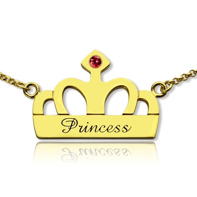 Princess Crown Charm Personalised Necklace with Birthstone  Name 18ct Gold Plated  - AMAZINGNECKLACE.COM
