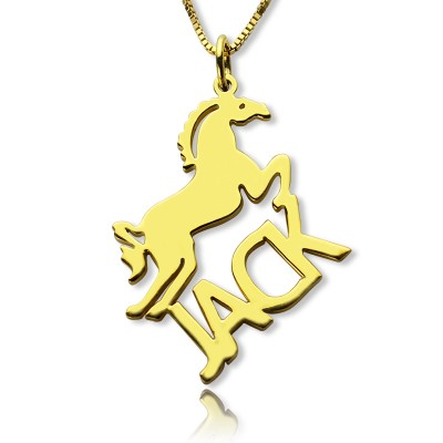 Kids Name Personalised Necklace with Horse 18ct Gold Plated - AMAZINGNECKLACE.COM