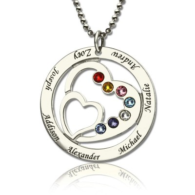 Personalised Heart in Heart Birthstone Name Necklace Silver  - AMAZINGNECKLACE.COM