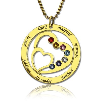 Heart in Heart Birthstone Name Personalised Necklace 18ct Gold Plated  - AMAZINGNECKLACE.COM