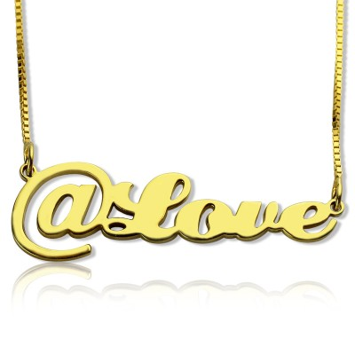 Twitter At Symbol Name Personalised Necklace 18ct Gold Plated - AMAZINGNECKLACE.COM