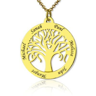 Tree of Life Jewellery Family Name Personalised Necklace in 18ct Gold Plated - AMAZINGNECKLACE.COM