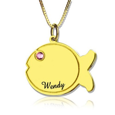 Kids Fish Name Personalised Necklace 18ct Gold Plated - AMAZINGNECKLACE.COM