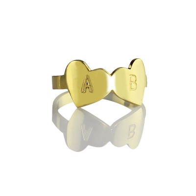 Custom Double Heart Personalised Ring Engraved Letter 18ct Gold Plated - AMAZINGNECKLACE.COM