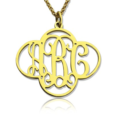Personalised Cut Out Clover Monogram Necklace 18ct Gold Plated - AMAZINGNECKLACE.COM