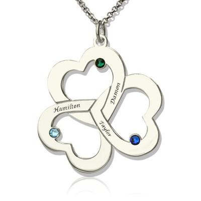 Personalised Three Triple Heart Shamrocks Necklace with Name - AMAZINGNECKLACE.COM