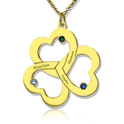 Birthstone Triple Heart Personalised Necklace Engraved Name in 18ct Gold Plated  - AMAZINGNECKLACE.COM