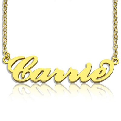 Personalised Carrie Name Necklace 18ct Gold Plated - AMAZINGNECKLACE.COM