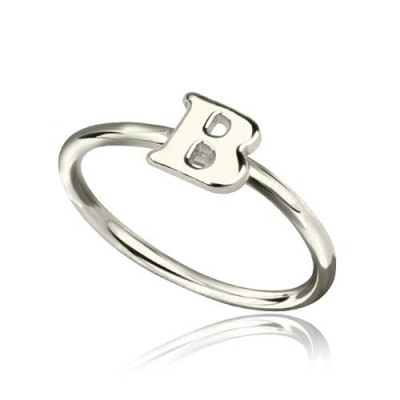 Personalised Women's Midi Initial Ring Sterling Silver - AMAZINGNECKLACE.COM