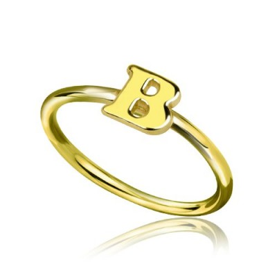 Custom Midi Initial Letter Personalised Ring 18ct Gold Plated - AMAZINGNECKLACE.COM