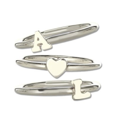 Stackable Midi Initial Personalised Ring Sterling Silver - AMAZINGNECKLACE.COM