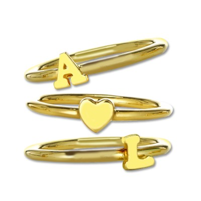 Stackable Initial Personalised Ring 18ct Gold Plated - AMAZINGNECKLACE.COM