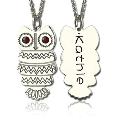 Cute Birthstone Owl Name Personalised Necklace for Girls  - AMAZINGNECKLACE.COM