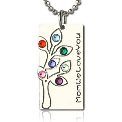 Birthstone Mother Family Tree Personalised Necklace Gifts Sterling Silver  - AMAZINGNECKLACE.COM
