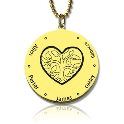 Heart Family Tree Personalised Necklace in 18ct Gold Plating - AMAZINGNECKLACE.COM
