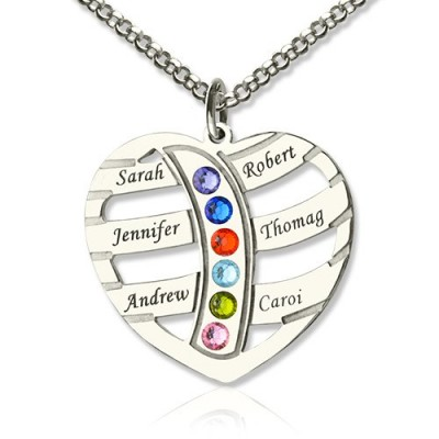 Moms Personalised Necklace With Kids Name  Birthstone In Sterling Silver  - AMAZINGNECKLACE.COM