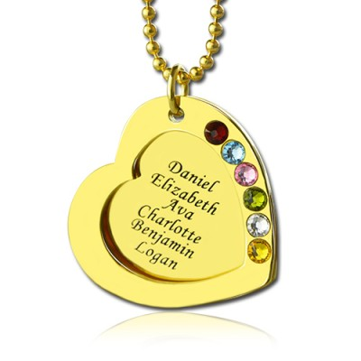 Heart Birthstones Personalised Necklace For Mother In Gold  - AMAZINGNECKLACE.COM