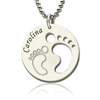 Baby Footprint Name Pendant Sterling Silver - AMAZINGNECKLACE.COM