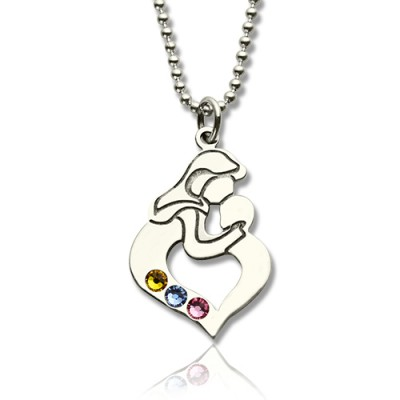 Personalised Mother Child Necklace with Birthstone Silver  - AMAZINGNECKLACE.COM