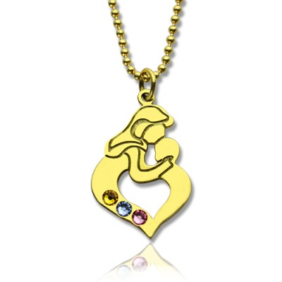 Personalised Mother Child Necklace with Birthstone Gold Plated Silver  - AMAZINGNECKLACE.COM