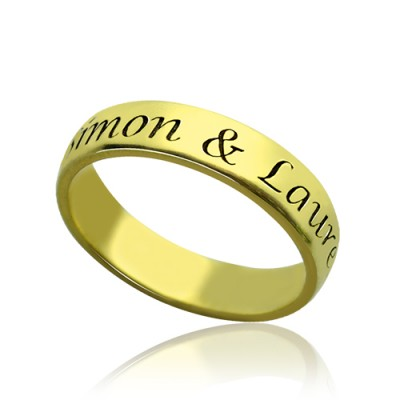 Engraved Promise Name Personalised Ring 18ct Gold Plated - AMAZINGNECKLACE.COM