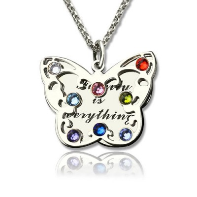 Personalised Birthstone Butterfly Necklace Sterling Silver  - AMAZINGNECKLACE.COM