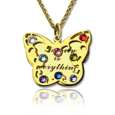 Birthstone Butterfly Personalised Necklace 18ct Gold Plated  - AMAZINGNECKLACE.COM