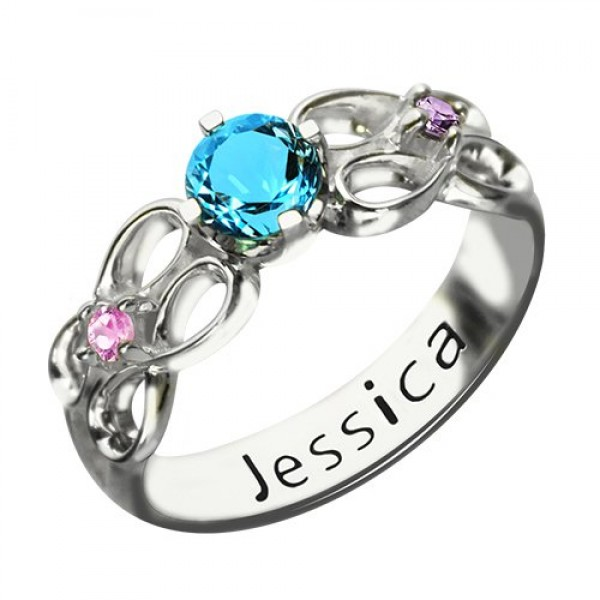 Customised Infinity Promise Personalised Ring With Name  Birthstone for Her Silver  - AMAZINGNECKLACE.COM