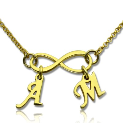 Infinity Pendant Double Initial 18ct Gold Plated - AMAZINGNECKLACE.COM