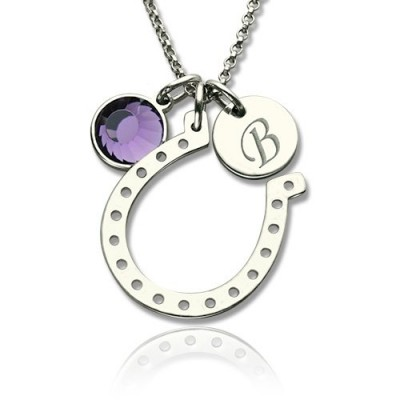 Horseshoe Good Luck Personalised Necklace with Initial  Birthstone Charm  - AMAZINGNECKLACE.COM