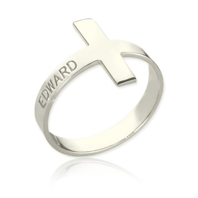 Engraved Name Cross Personalised Rings Sterling Silver - AMAZINGNECKLACE.COM