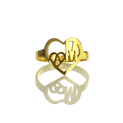 Personalised Heart in Heart Double Initial Ring 18ct Gold Plated - AMAZINGNECKLACE.COM