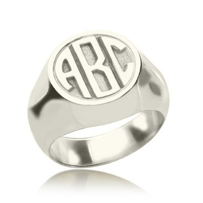 Personalised Signet Ring with Block Monogram Sterling Silver - AMAZINGNECKLACE.COM